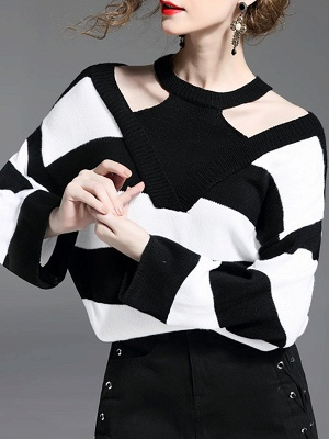 Black-white Crew Neck Shift Long Sleeve Solid Sweater_3