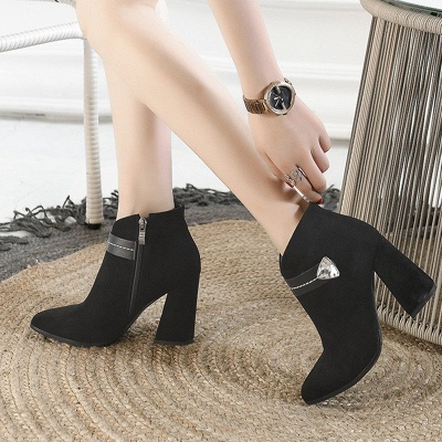 Zipper Chunky Heel Daily Suede Elegant Pointed Toe Boots_10