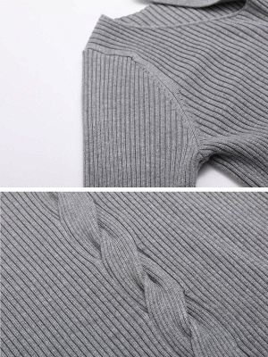 Gray Knitted Halter Simple Sweater_5