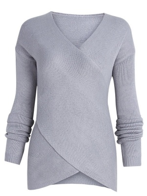 Gray H-line Long Sleeve Knitted Sweater_10