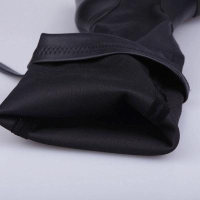 Black Fall Chunky Heel Zipper PU Boots_7