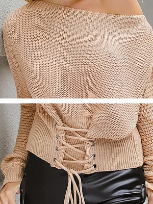 Lace up Long Sleeve Casual Crew Neck Sweater_6