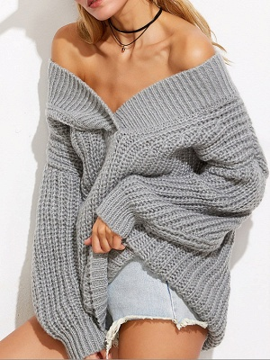 Off Shoulder Solid Shift Long Sleeve Casual Sweater_3