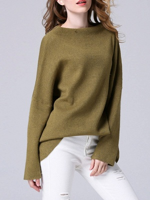 Olive Green Slash Neck Knitted Long Sleeve Sweaters_4