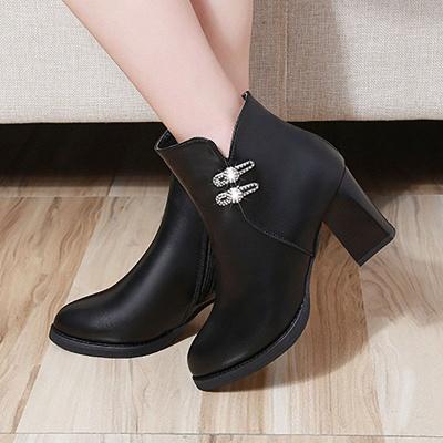 Chunky Heel Rhinestone Daily Pointed Toe Zipper Elegant Boots_2