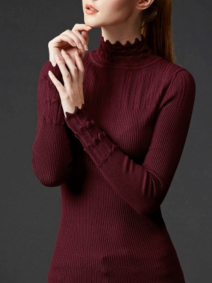 Stand Collar Casual Shift Solid Long Sleeve Sweater_2