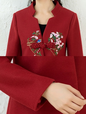 Floral Embroidered Stand Collar Shift Coats_9