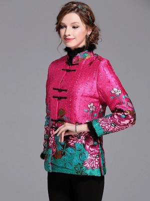 Paneled Crinkled Fluffy Buttoned  Printed Coat_10