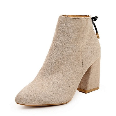 Chunky Heel Daily Lace-up Pointed Toe Zipper Elegant Boots_13
