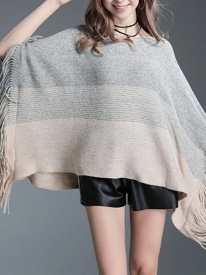 Fringed Batwing Casual Wool Sweater_4