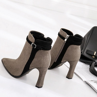 Daily Buckle Pointed Toe Elegant Boots_6