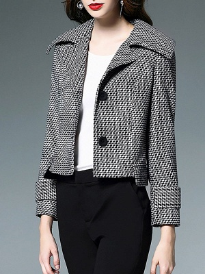 Black-white Buttoned Shift Lapel Elegant Coat_6