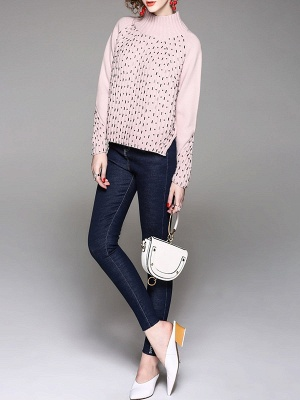 Casual Solid Long Sleeve Sweater_6