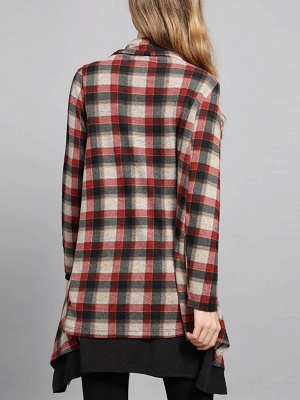 Checkered/Plaid High Low Casual Long Sleeve Coat_4