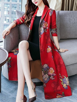 Floral Shawl Collar A-line Floral-print Pockets Long Sleeve Coat_7