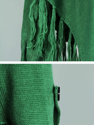 Green V neck Batwing Casual Sweater_5