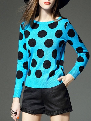 Blue Polka Dots Crew Neck Long Sleeve Casual Sweater_4