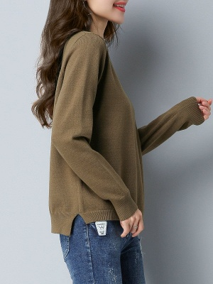 Choker Neck Long Sleeve Solid Sweater_6