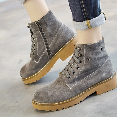 Leather Chunky Heel Lace-up Round Toe Boots_5