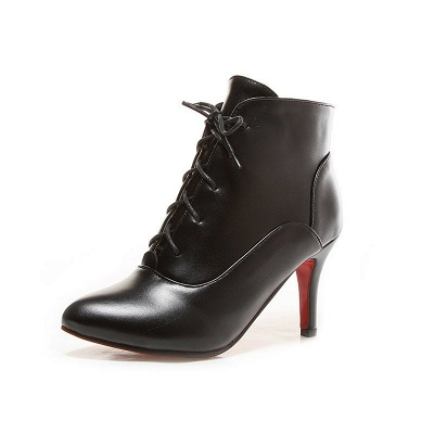 Lace-up Stiletto Heel Pointed Toe Elegant Boots_3