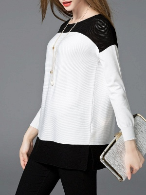 White Cotton Solid Long Sleeve Sweater_7