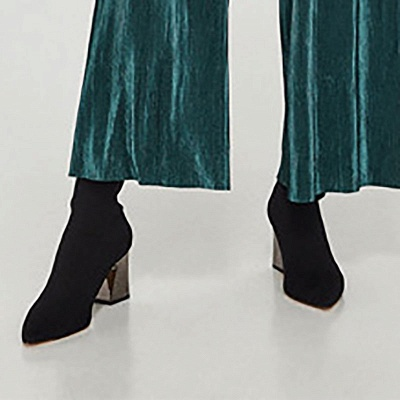 Black Chunky Heel Daily Pointed Toe Boots_4
