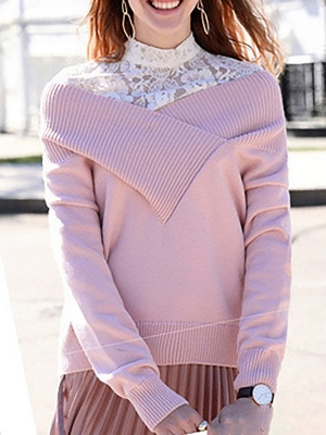 Long Sleeve Shift Casual V neck Solid Sweaters_2