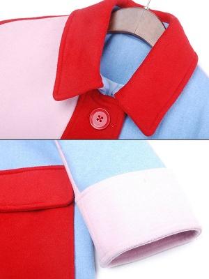 Blue Work Buttoned Pockets Color-block Coat_6