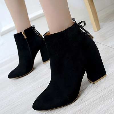 Chunky Heel Daily Lace-up Pointed Toe Zipper Elegant Boots_6
