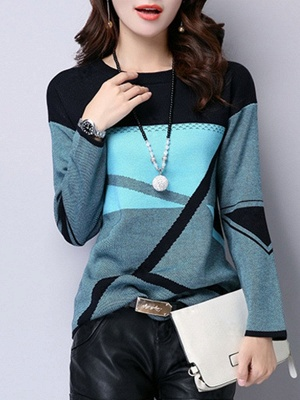 Casual Knitted Long Sleeve Sweater_2