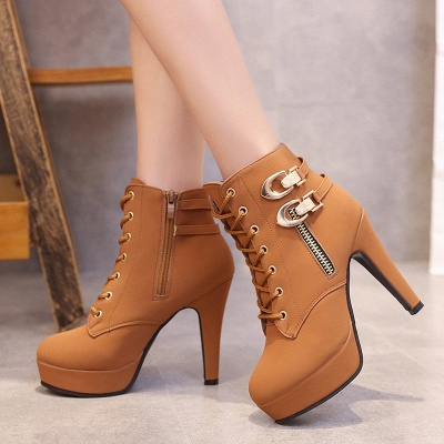 Daily Lace-up Chunky Heel Round Toe Buckle Stiletto Heel Boots_8