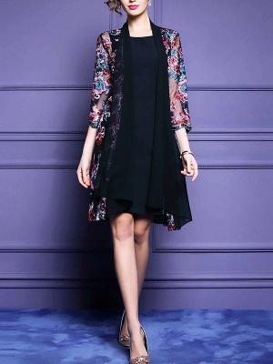 Black Floral Shift 3/4 Sleeve Casual Coat_4