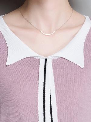 Sweater Shirt Collar Ice Yarn Knit Shift Daytime Knitwear_9