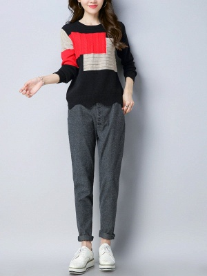 Long Sleeve Cable Casual Knitted Sweater_9
