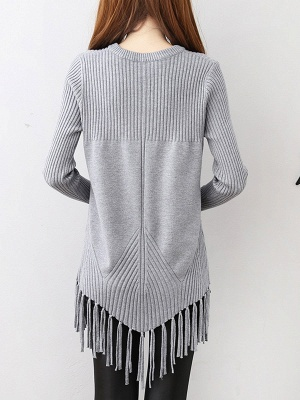Casual Long Sleeve Crew Neck Sweater_5