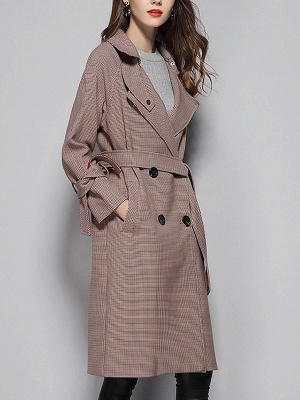 Lapel Work Printed Buttoned Pockets Houndstooth Coats_4