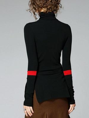 Army green Turtleneck Slit Long Sleeve Cotton Sweater_3