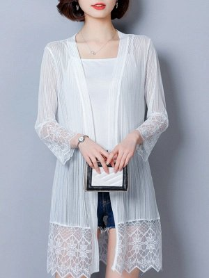Paneled Casual Shift Long Sleeve Chiffon Coat_1