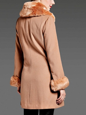 Coffee Bow Lapel Fluffy Buttoned  Paneled Coat_6