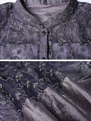 Gray Crew Neck Half Sleeve Guipure lace Paneled Coat_6