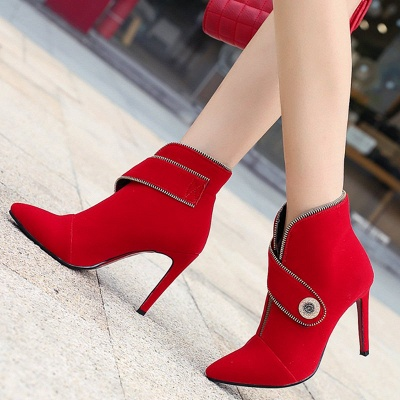 Zipper Daily Stiletto Heel Suede Pointed Toe Elegant Boots_5