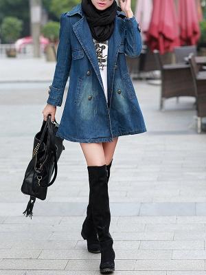 Blue Shift Long Sleeve Pockets Buttoned Shirt Collar Coat_4