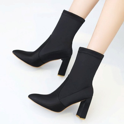 Daily Chunky Heel Zipper Pointed Toe PU Boots_9