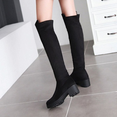 Suede Daily Chunky Heel Round Toe Boot_8