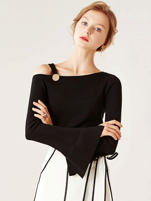 Bell Sleeve Paneled Solid Casual Sweater_2