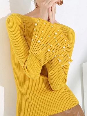 Frill Sleeve Casual Bateau/boat neck Sheath Sweater_3