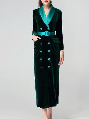 Dark Green Casual Pockets Coat_2