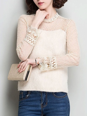 Wool Casual Long Sleeve Sweater Lace Mesh Knitted Top_1