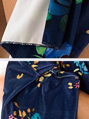 Royal blue Floral Shawl Collar Asymmetric Long Sleeve Coat_5