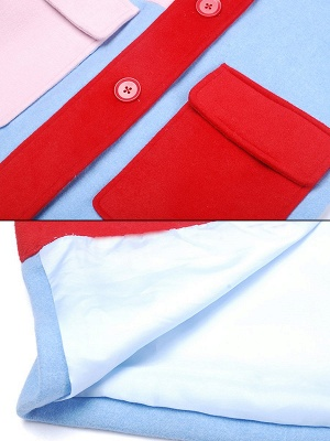 Blue Work Buttoned Pockets Color-block Coat_7